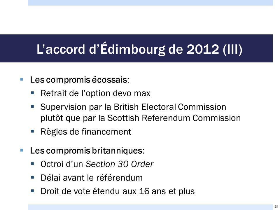 L'accord d'Édimbourg de 2012 (III)  Les compromis écossais:  Retrait de l'option devo max  Supervision par la British Electoral Commission plutôt q