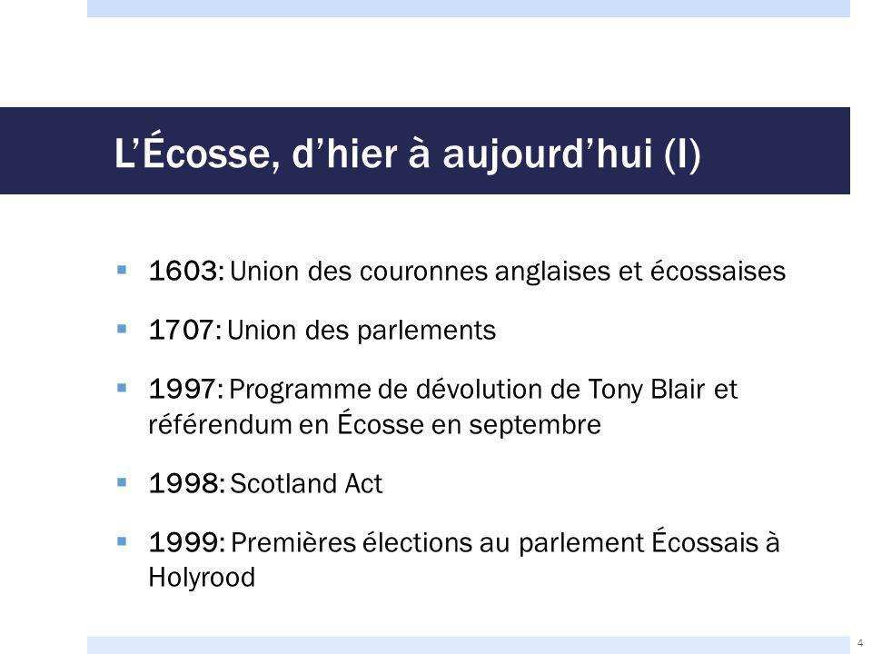 L'Écosse, d'hier à aujourd'hui (I)  1603: Union des couronnes anglaises et écossaises  1707: Union des parlements  1997: Programme de dévolution de Tony Blair et référendum en Écosse en septembre  1998: Scotland Act  1999: Premières élections au parlement Écossais à Holyrood 4
