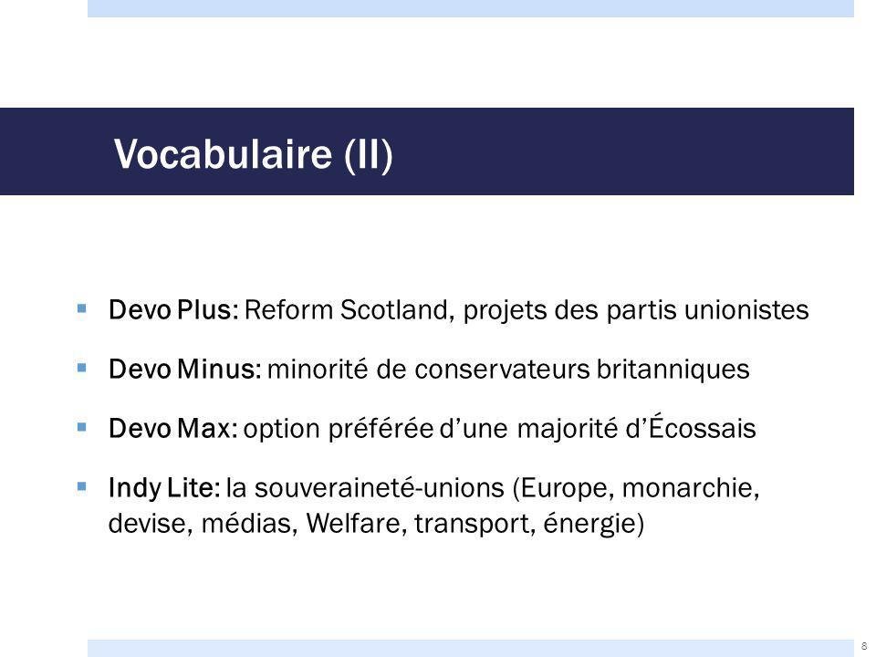 L'accord d'Édimbourg de 2012 (III)  Les compromis écossais:  Retrait de l'option devo max  Supervision par la British Electoral Commission plutôt que par la Scottish Referendum Commission  Règles de financement  Les compromis britanniques:  Octroi d'un Section 30 Order  Délai avant le référendum  Droit de vote étendu aux 16 ans et plus 19