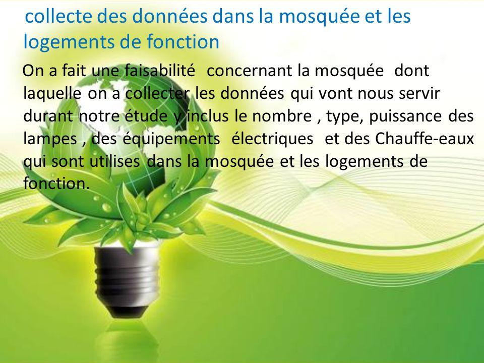 collecte des données dans la mosquée et les logements de fonction On a fait une faisabilité concernant la mosquée dont laquelle on a collecter les don