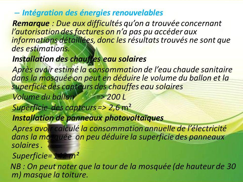 – Intégration des énergies renouvelables Remarque : Due aux difficultés qu'on a trouvée concernant l'autorisation des factures on n'a pas pu accéder a