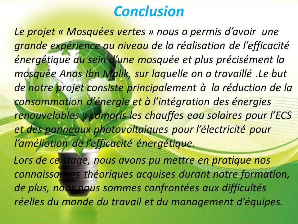 Conclusion Le projet « Mosquées vertes » nous a permis d'avoir une grande expérience au niveau de la réalisation de l'efficacité énergétique au sein d