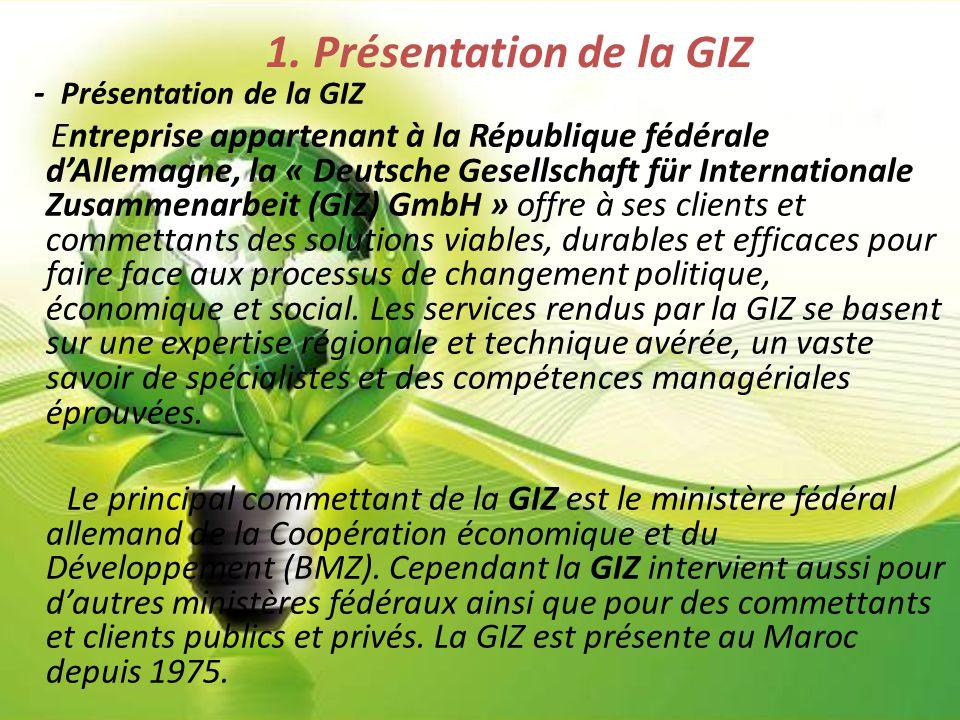 1. Présentation de la GIZ - Présentation de la GIZ Entreprise appartenant à la République fédérale d'Allemagne, la « Deutsche Gesellschaft für Interna