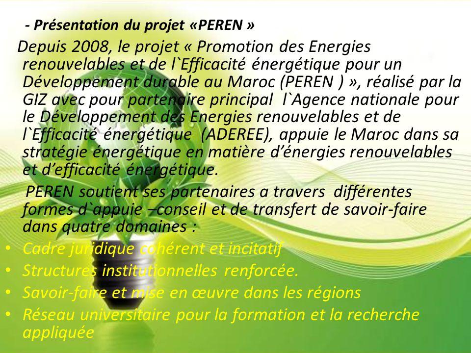 - Présentation du projet «PEREN » Depuis 2008, le projet « Promotion des Energies renouvelables et de l`Efficacité énergétique pour un Développement d
