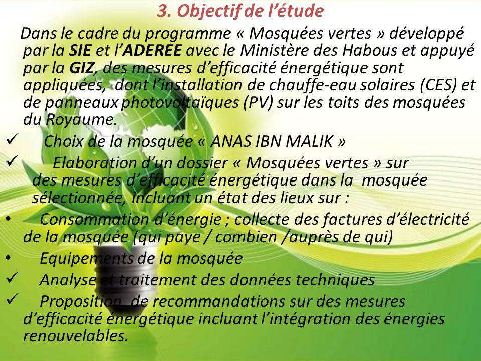 3. Objectif de l'étude Dans le cadre du programme « Mosquées vertes » développé par la SIE et l'ADEREE avec le Ministère des Habous et appuyé par la G