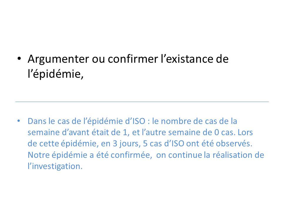 Argumenter ou confirmer l'existance de l'épidémie, Dans le cas de l'épidémie d'ISO : le nombre de cas de la semaine d'avant était de 1, et l'autre sem