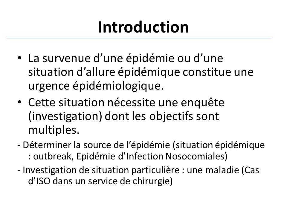 Introduction La survenue d'une épidémie ou d'une situation d'allure épidémique constitue une urgence épidémiologique. Cette situation nécessite une en
