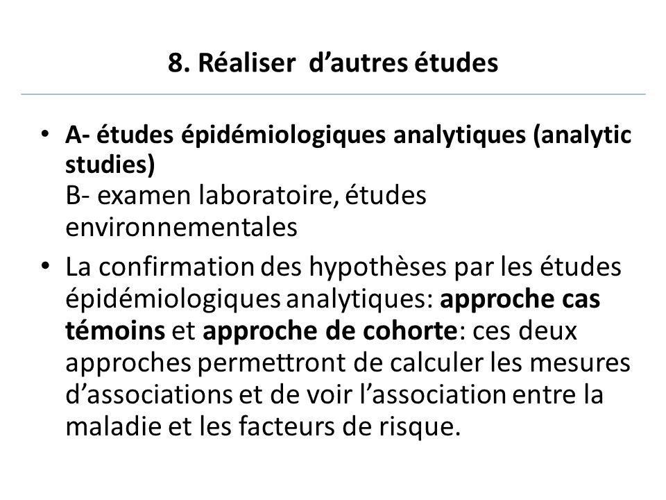 8. Réaliser d'autres études A- études épidémiologiques analytiques (analytic studies) B- examen laboratoire, études environnementales La confirmation
