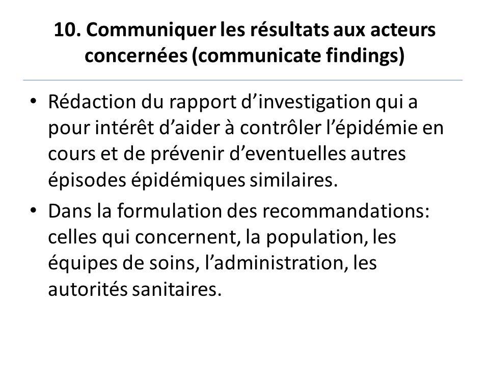 10. Communiquer les résultats aux acteurs concernées (communicate findings) Rédaction du rapport d'investigation qui a pour intérêt d'aider à contrôle