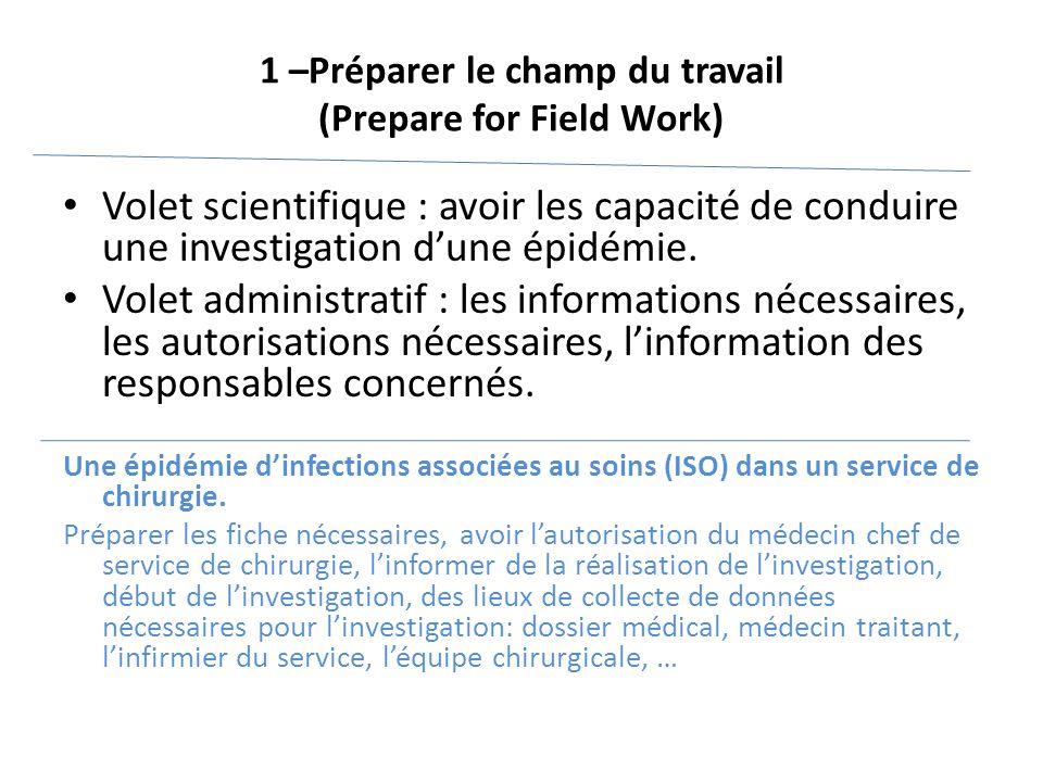 1 –Préparer le champ du travail (Prepare for Field Work) Volet scientifique : avoir les capacité de conduire une investigation d'une épidémie. Volet a