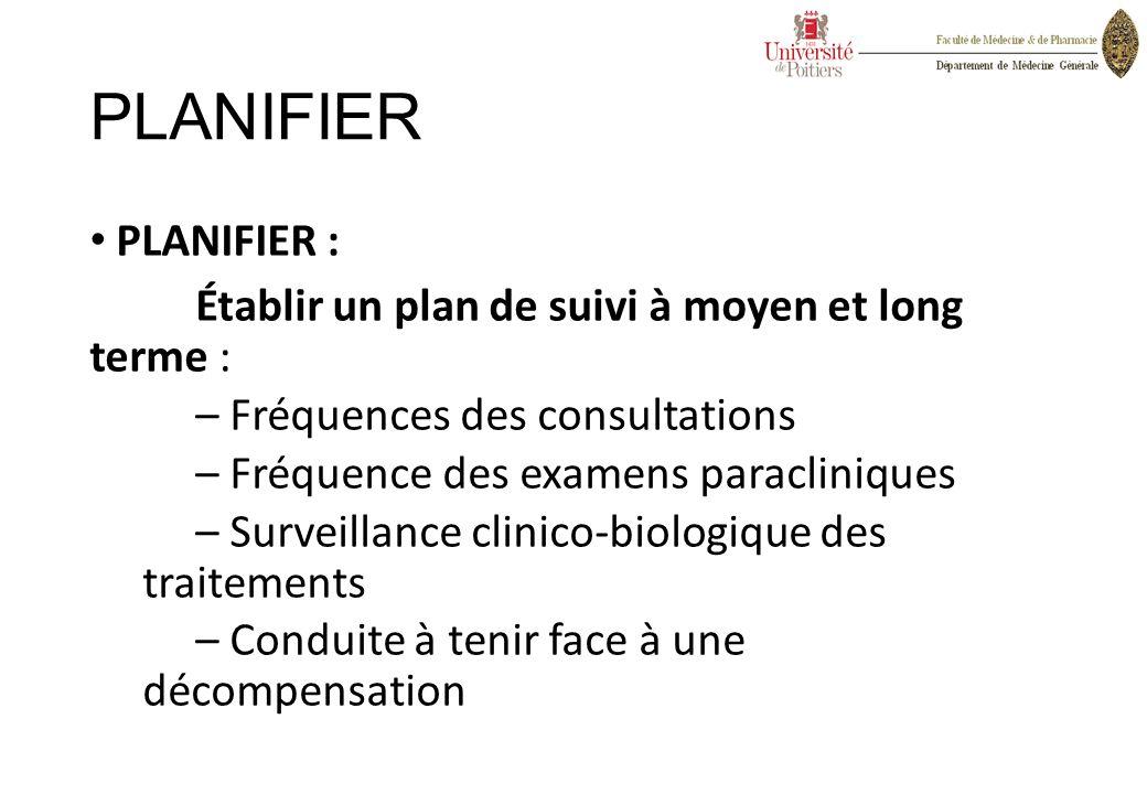 PLANIFIER PLANIFIER : Établir un plan de suivi à moyen et long terme : – Fréquences des consultations – Fréquence des examens paracliniques – Surveill