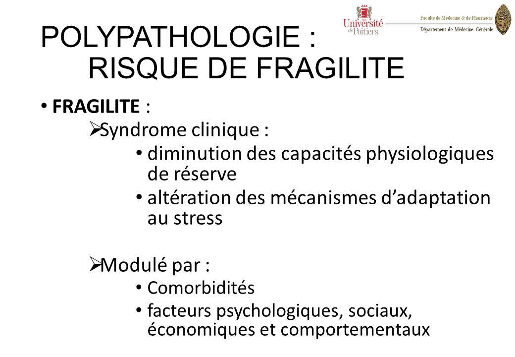 POLYPATHOLOGIE : RISQUE DE FRAGILITE FRAGILITE :  Syndrome clinique : diminution des capacités physiologiques de réserve altération des mécanismes d'