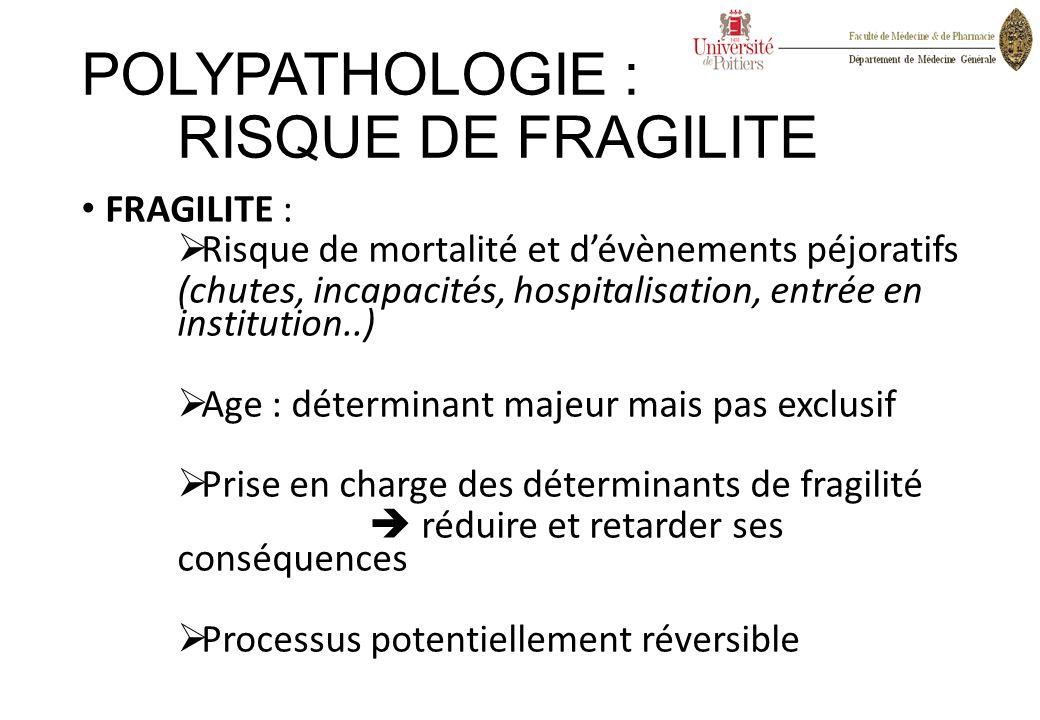 FRAGILITE :  Risque de mortalité et d'évènements péjoratifs (chutes, incapacités, hospitalisation, entrée en institution..)  Age : déterminant majeu