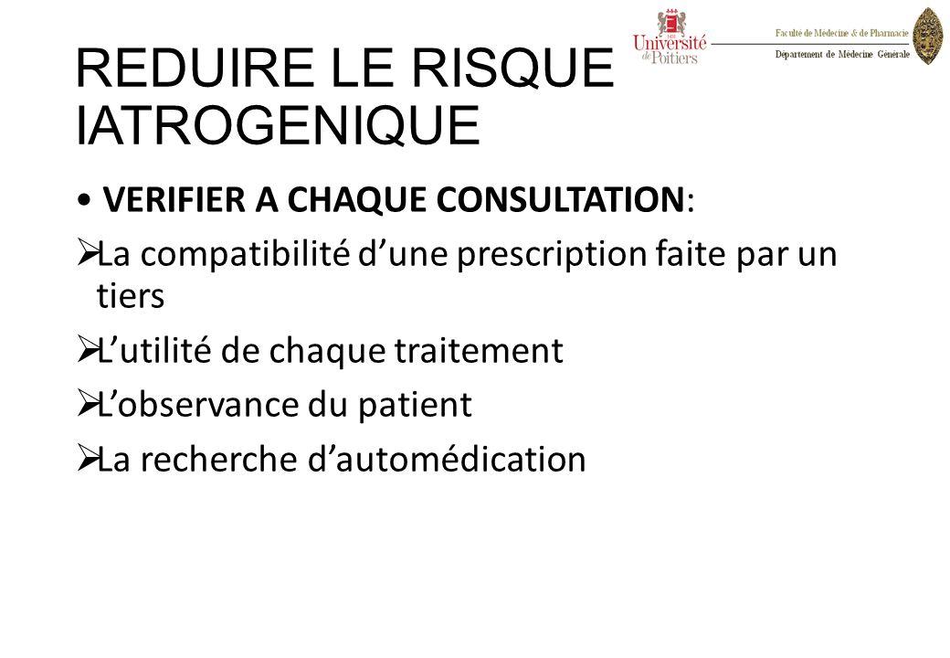REDUIRE LE RISQUE IATROGENIQUE VERIFIER A CHAQUE CONSULTATION:  La compatibilité d'une prescription faite par un tiers  L'utilité de chaque traiteme
