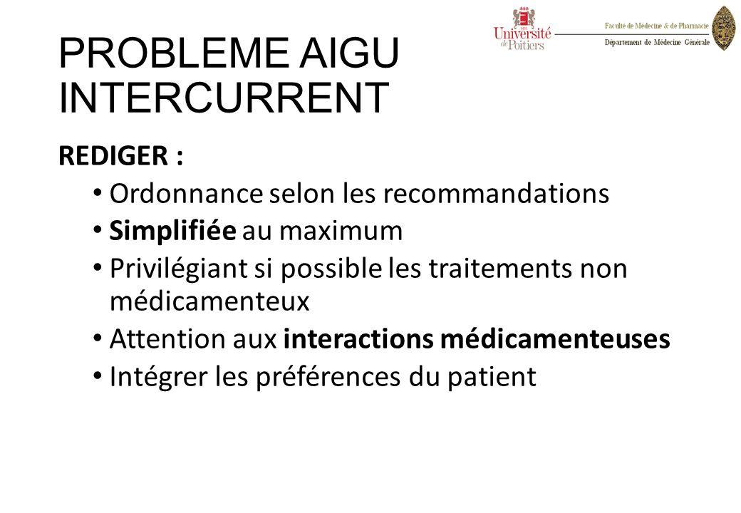 PROBLEME AIGU INTERCURRENT REDIGER : Ordonnance selon les recommandations Simplifiée au maximum Privilégiant si possible les traitements non médicamen