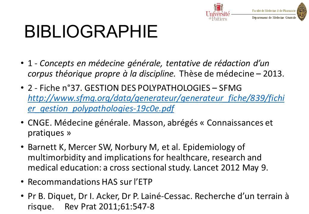 BIBLIOGRAPHIE 1 - Concepts en médecine générale, tentative de rédaction d'un corpus théorique propre à la discipline. Thèse de médecine – 2013. 2 - Fi