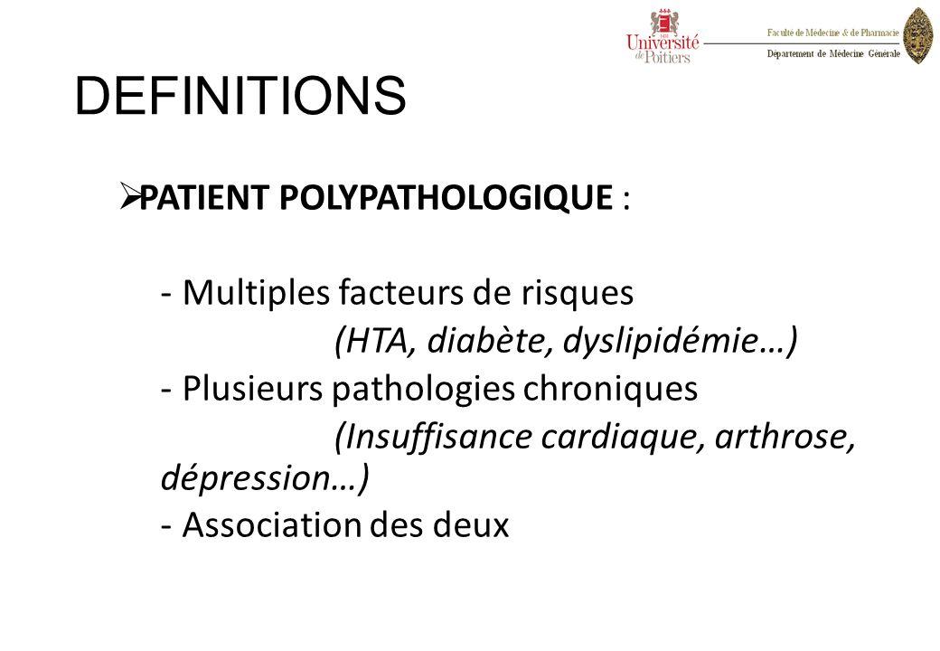 DEFINITIONS  PATIENT POLYPATHOLOGIQUE : -Multiples facteurs de risques (HTA, diabète, dyslipidémie…) -Plusieurs pathologies chroniques (Insuffisance