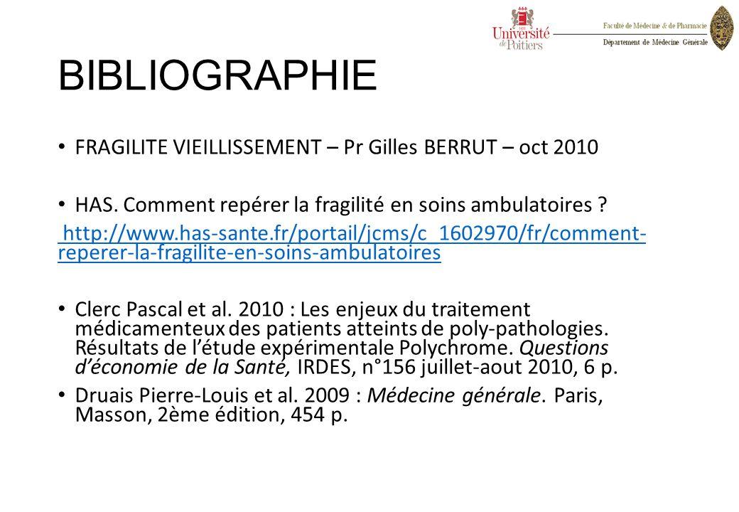 BIBLIOGRAPHIE FRAGILITE VIEILLISSEMENT – Pr Gilles BERRUT – oct 2010 HAS. Comment repérer la fragilité en soins ambulatoires ? http://www.has-sante.fr
