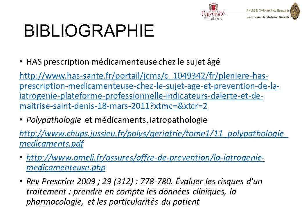 BIBLIOGRAPHIE HAS prescription médicamenteuse chez le sujet âgé http://www.has-sante.fr/portail/jcms/c_1049342/fr/pleniere-has- prescription-medicamen