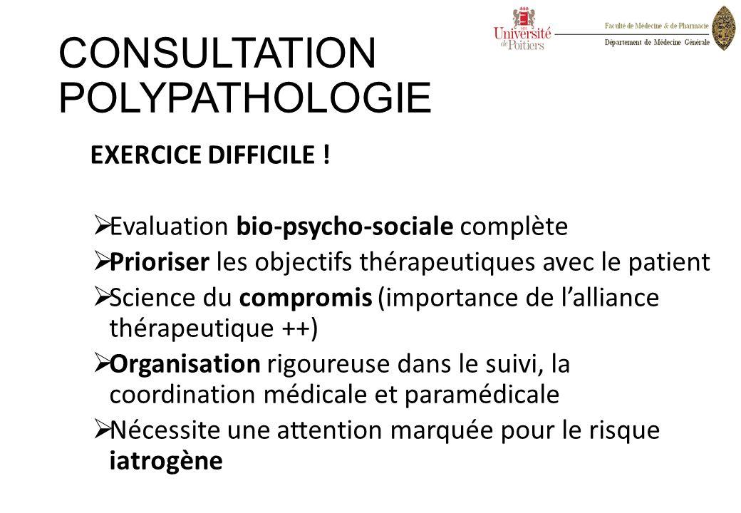 CONSULTATION POLYPATHOLOGIE EXERCICE DIFFICILE !  Evaluation bio-psycho-sociale complète  Prioriser les objectifs thérapeutiques avec le patient  S