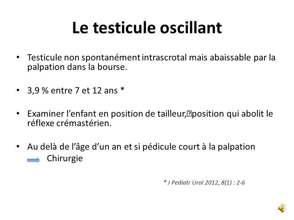 Le testicule oscillant Testicule non spontanément intrascrotal mais abaissable par lapalpation dans la bourse.