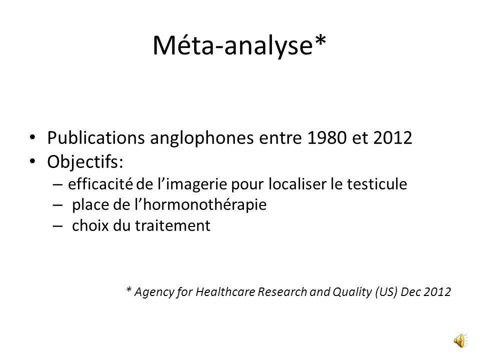Méta-analyse* Publications anglophones entre 1980 et 2012 Objectifs: – efficacité de l'imagerie pour localiser le testicule – place de l'hormonothérapie – choix du traitement * Agency for Healthcare Research and Quality (US) Dec 2012