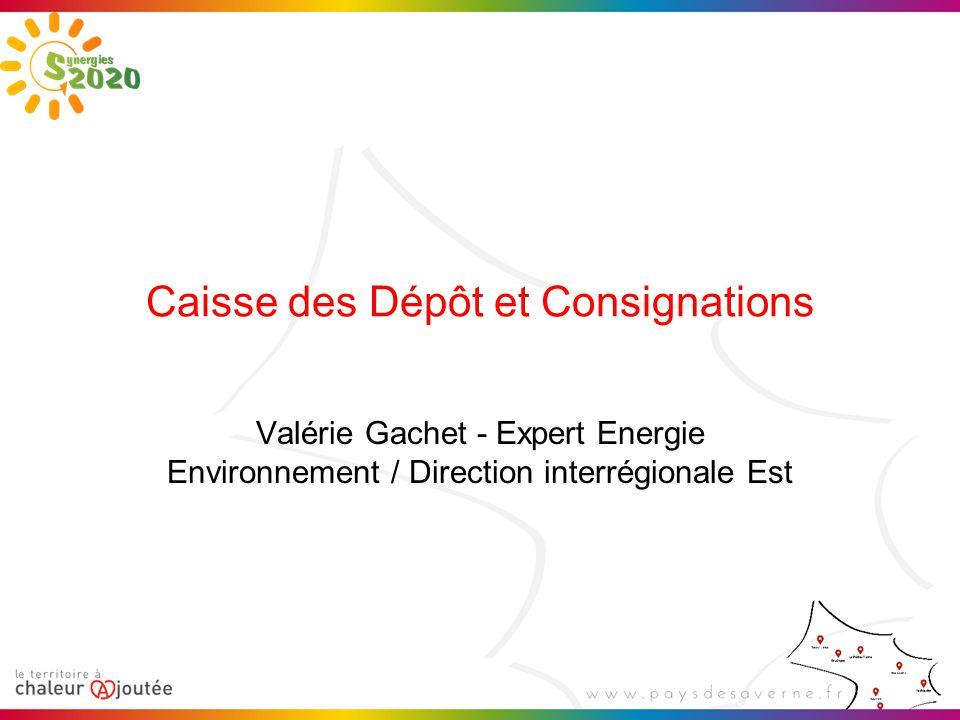 Caisse des Dépôt et Consignations Valérie Gachet - Expert Energie Environnement / Direction interrégionale Est