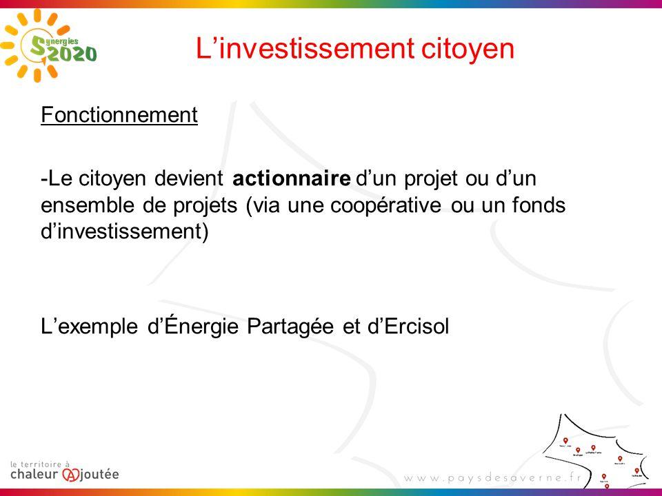 L'investissement citoyen Fonctionnement -Le citoyen devient actionnaire d'un projet ou d'un ensemble de projets (via une coopérative ou un fonds d'investissement) L'exemple d'Énergie Partagée et d'Ercisol