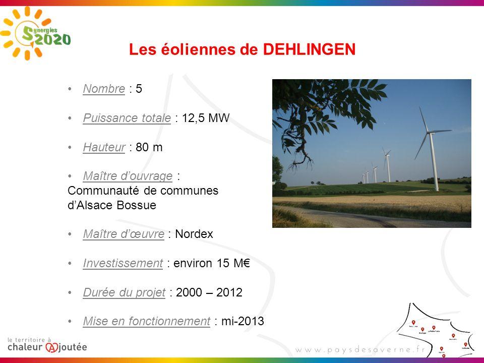 Les éoliennes de DEHLINGEN Nombre : 5 Puissance totale : 12,5 MW Hauteur : 80 m Maître d'ouvrage : Communauté de communes d'Alsace Bossue Maître d'œuvre : Nordex Investissement : environ 15 M€ Durée du projet : 2000 – 2012 Mise en fonctionnement : mi-2013