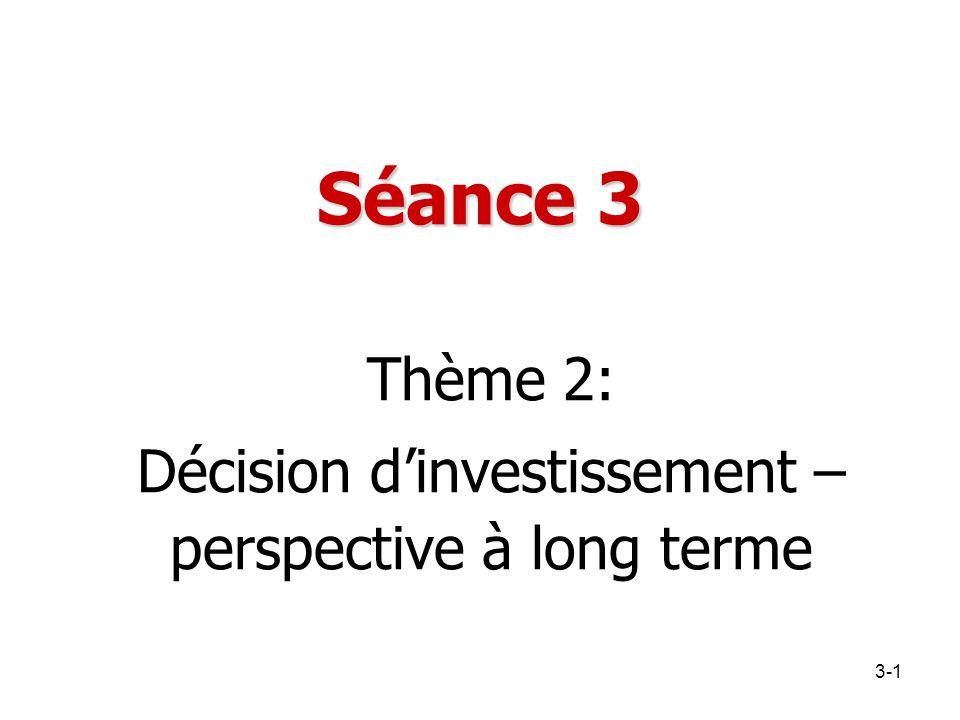 Séance 3 Thème 2: Décision d'investissement – perspective à long terme 3-1