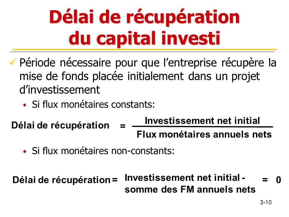 Délai de récupération du capital investi Période nécessaire pour que l'entreprise récupère la mise de fonds placée initialement dans un projet d'inves