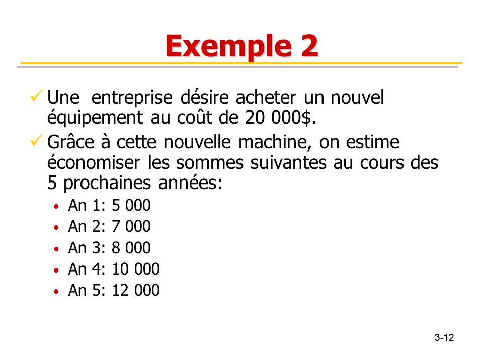 3-12 Exemple 2 Une entreprise désire acheter un nouvel équipement au coût de 20 000$. Grâce à cette nouvelle machine, on estime économiser les sommes