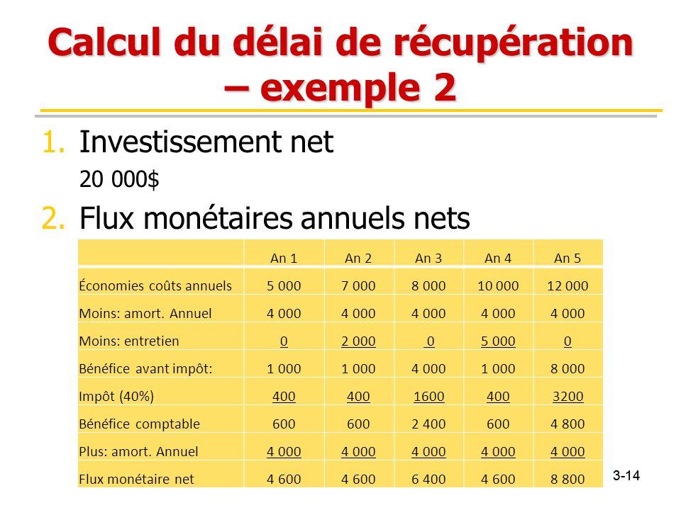 3-14 Calcul du délai de récupération – exemple 2 1.Investissement net 20 000$ 2.Flux monétaires annuels nets An 1An 2An 3An 4An 5 Économies coûts annu