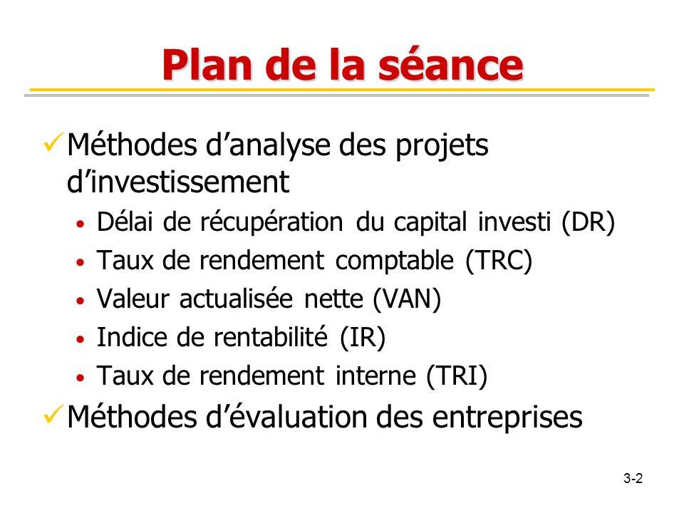 Plan de la séance Méthodes d'analyse des projets d'investissement Délai de récupération du capital investi (DR) Taux de rendement comptable (TRC) Vale