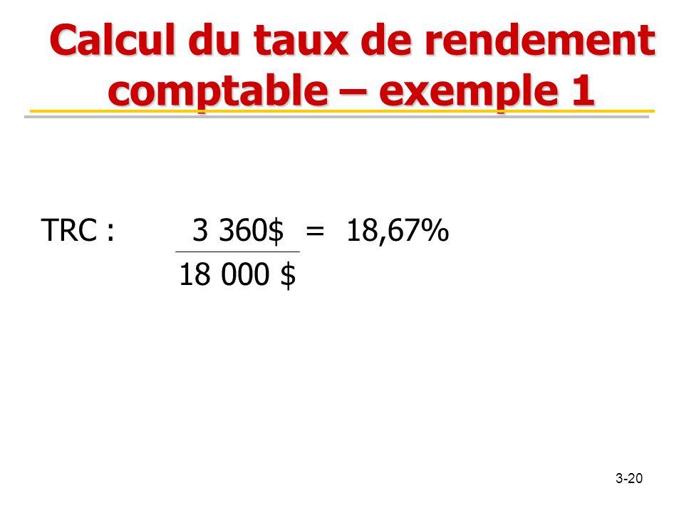 Calcul du taux de rendement comptable – exemple 1 TRC : 3 360$ = 18,67% 18 000 $ 3-20