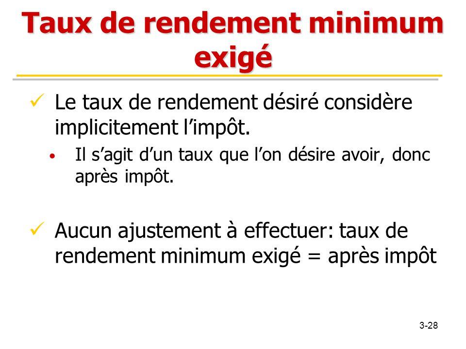 Taux de rendement minimum exigé Le taux de rendement désiré considère implicitement l'impôt. Il s'agit d'un taux que l'on désire avoir, donc après imp