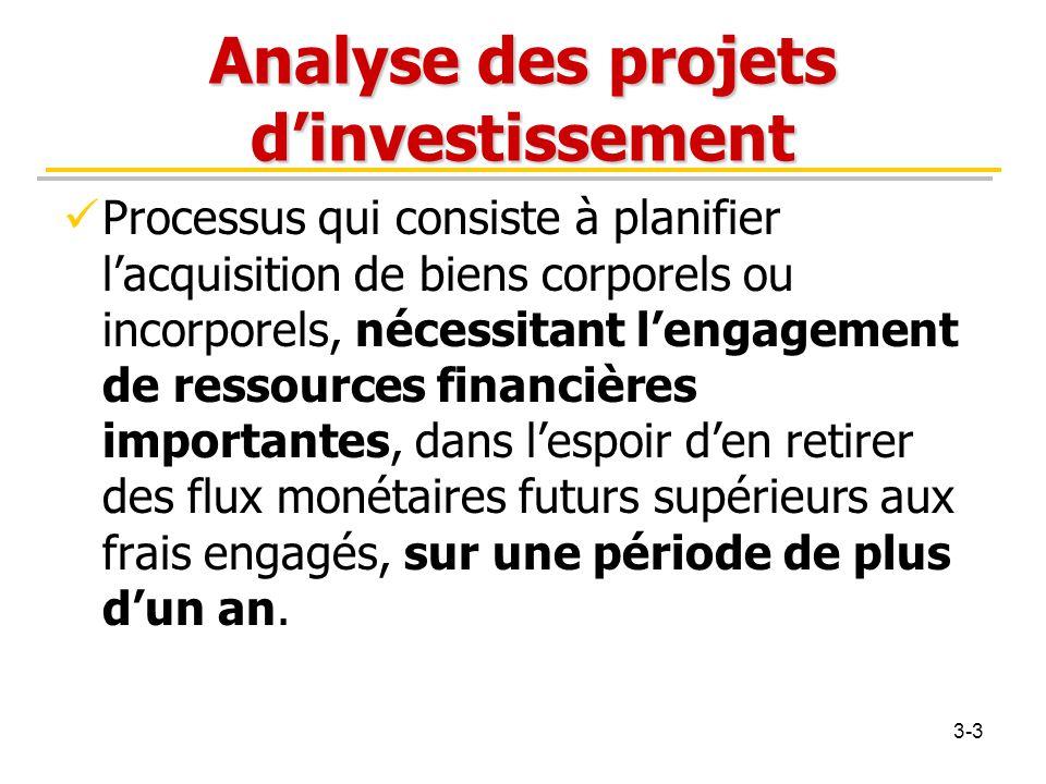 Analyse des projets d'investissement Processus qui consiste à planifier l'acquisition de biens corporels ou incorporels, nécessitant l'engagement de r