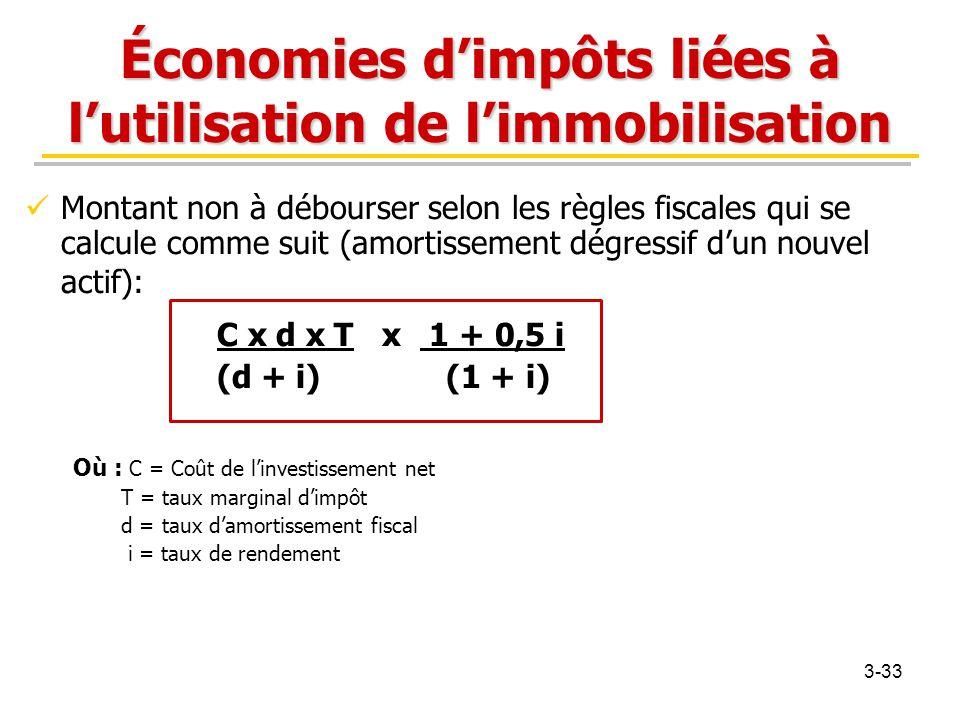 Économies d'impôts liées à l'utilisation de l'immobilisation Montant non à débourser selon les règles fiscales qui se calcule comme suit (amortissemen