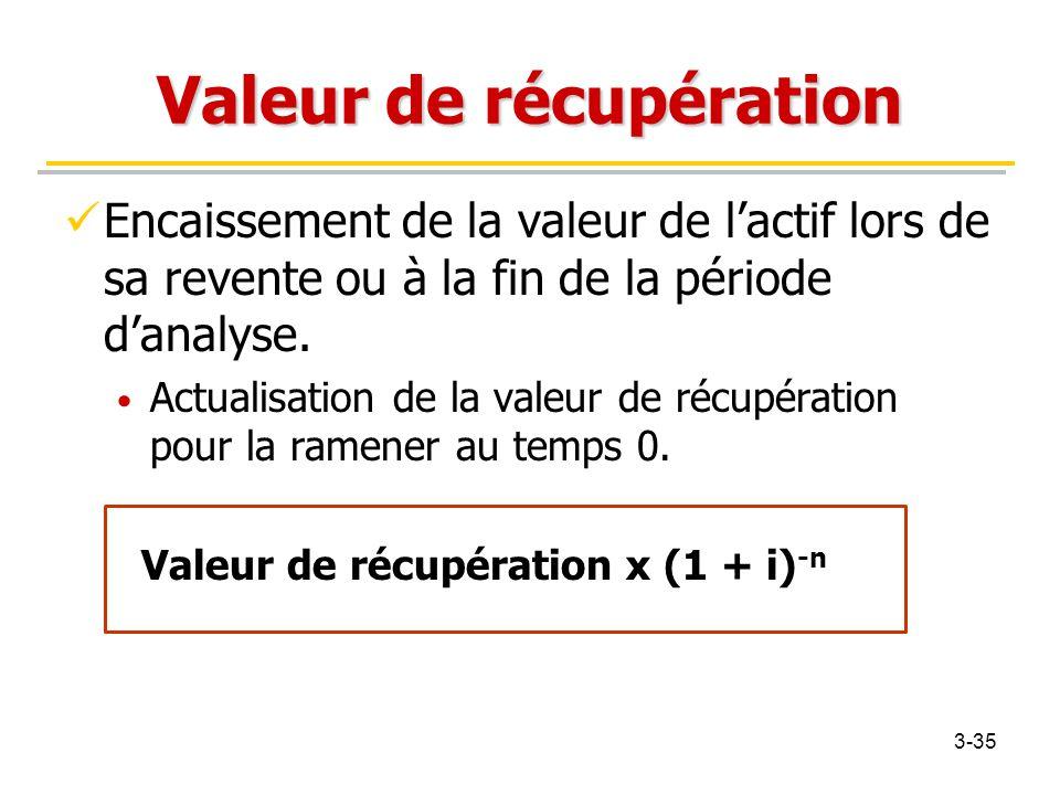 Valeur de récupération Encaissement de la valeur de l'actif lors de sa revente ou à la fin de la période d'analyse. Actualisation de la valeur de récu