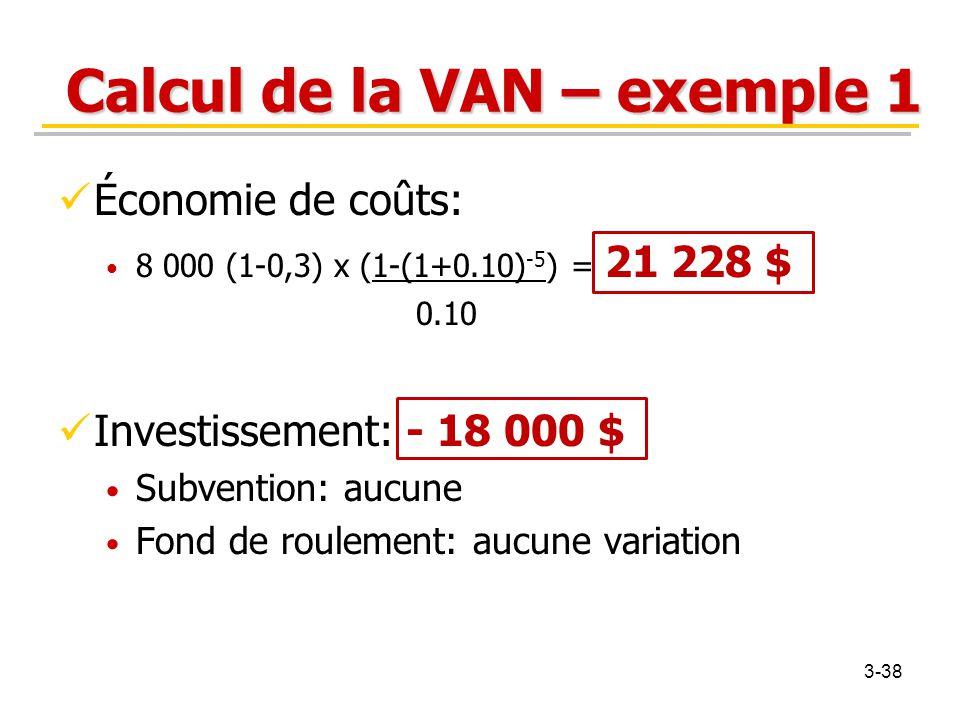 Calcul de la VAN – exemple 1 Économie de coûts: 8 000 (1-0,3) x (1-(1+0.10) -5 ) = 21 228 $ 0.10 Investissement: - 18 000 $ Subvention: aucune Fond de