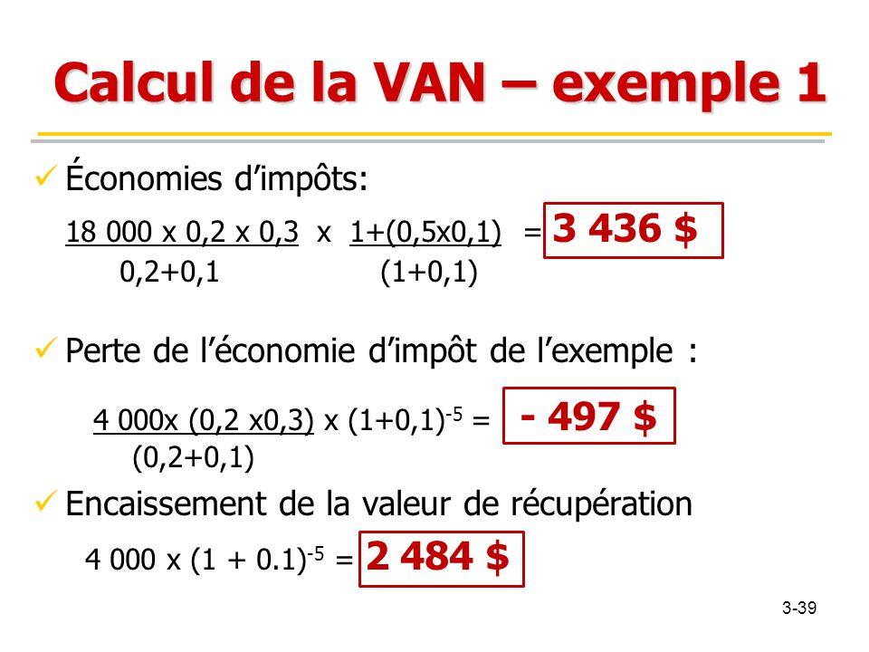 Calcul de la VAN – exemple 1 Économies d'impôts: 18 000 x 0,2 x 0,3 x 1+(0,5x0,1) = 3 436 $ 0,2+0,1(1+0,1) Perte de l'économie d'impôt de l'exemple :