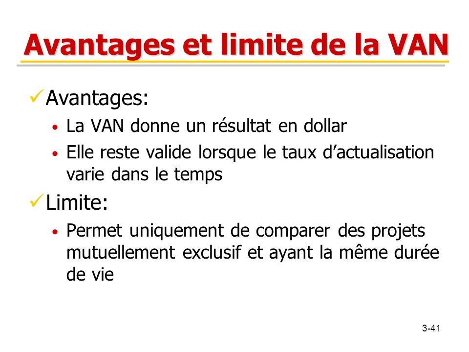 Avantages et limite de la VAN Avantages: La VAN donne un résultat en dollar Elle reste valide lorsque le taux d'actualisation varie dans le temps Limi