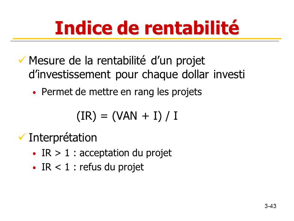 Indice de rentabilité Mesure de la rentabilité d'un projet d'investissement pour chaque dollar investi Permet de mettre en rang les projets (IR) = (VA
