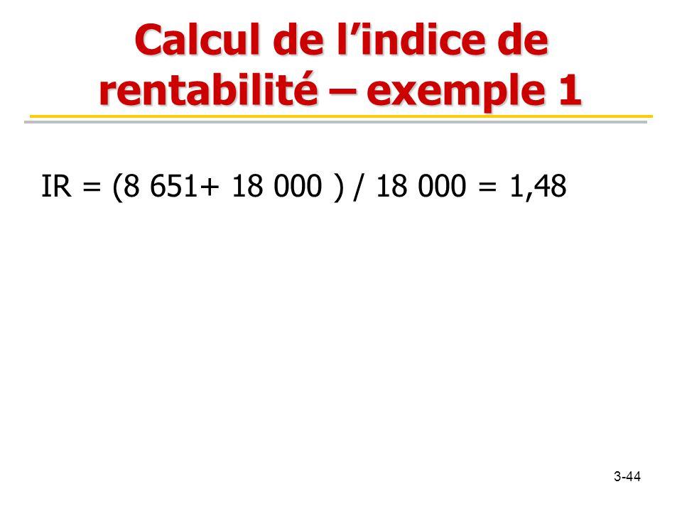 Calcul de l'indice de rentabilité – exemple 1 IR = (8 651+ 18 000 ) / 18 000 = 1,48 3-44