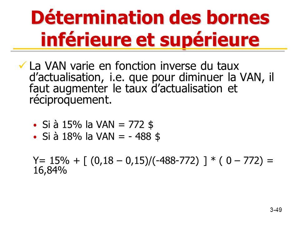 Détermination des bornes inférieure et supérieure La VAN varie en fonction inverse du taux d'actualisation, i.e. que pour diminuer la VAN, il faut aug