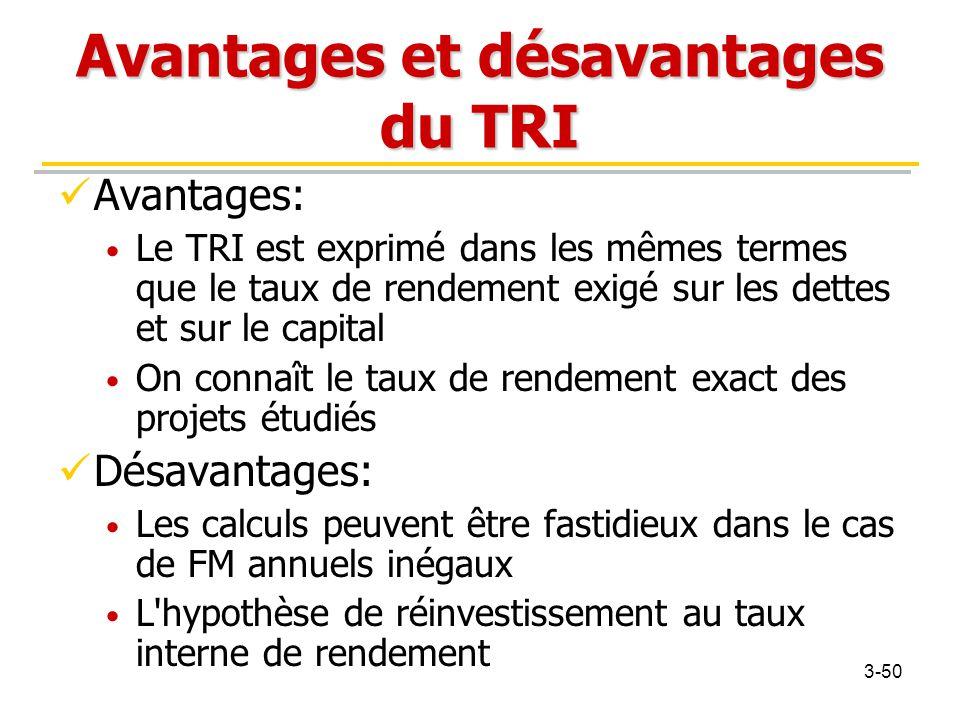 Avantages et désavantages du TRI Avantages: Le TRI est exprimé dans les mêmes termes que le taux de rendement exigé sur les dettes et sur le capital O