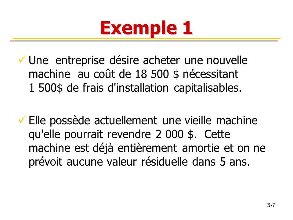 Exemple 1 Une entreprise désire acheter une nouvelle machine au coût de 18 500 $ nécessitant 1 500$ de frais d'installation capitalisables. Elle possè