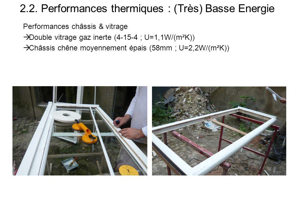 2.2. Performances thermiques : (Très) Basse Energie Performances châssis & vitrage  Double vitrage gaz inerte (4-15-4 ; U=1,1W/(m²K))  Châssis chêne