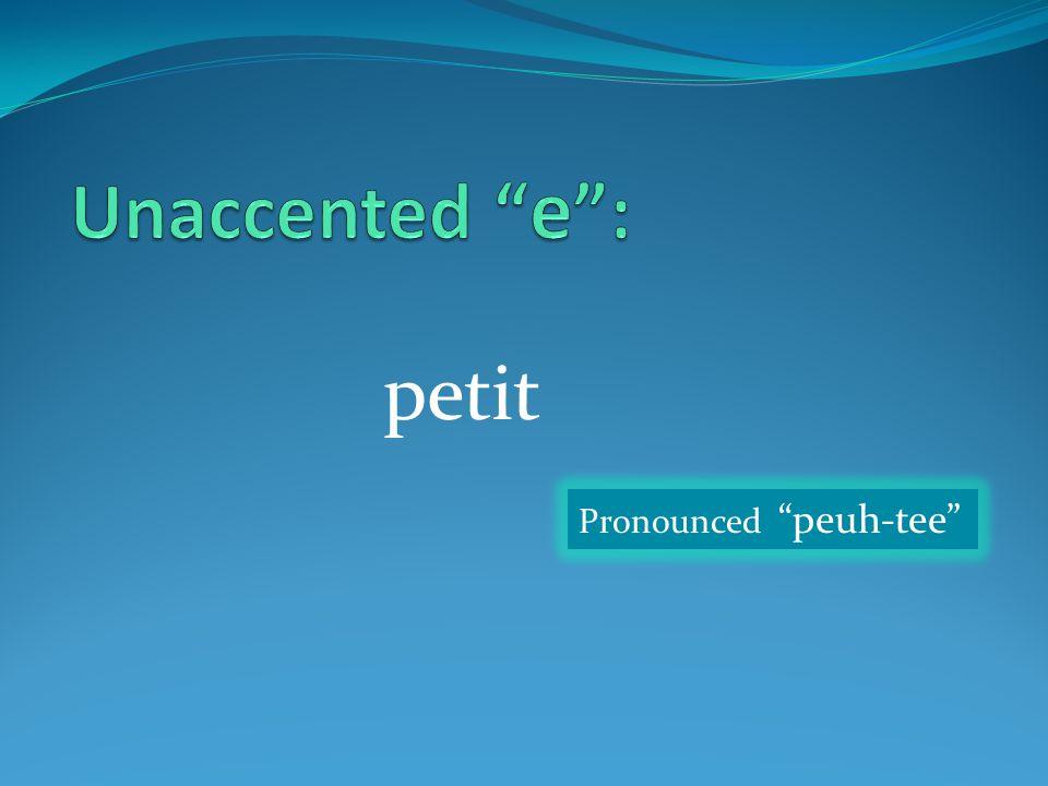 "petit Pronounced ""peuh-tee"""