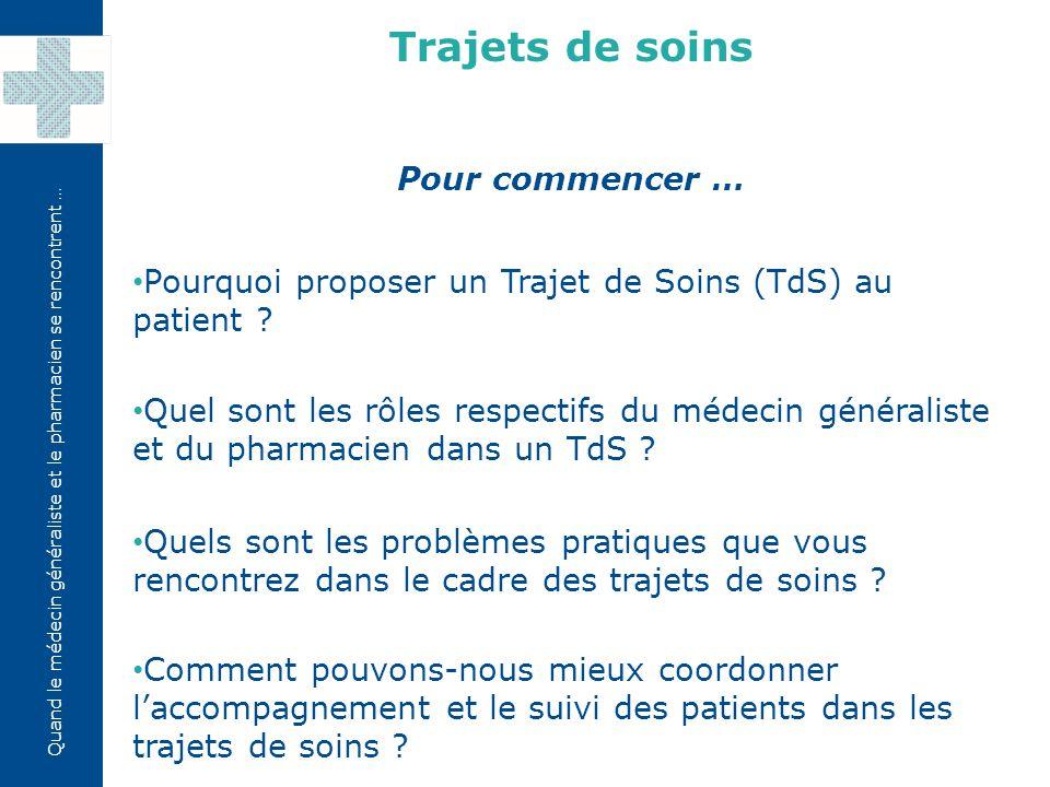 Quand le médecin généraliste et le pharmacien se rencontrent … Pour commencer … Pourquoi proposer un Trajet de Soins (TdS) au patient ? Quel sont les